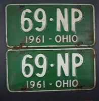 1961 Vintage Original Ohio License Plate 69-NP PAIR