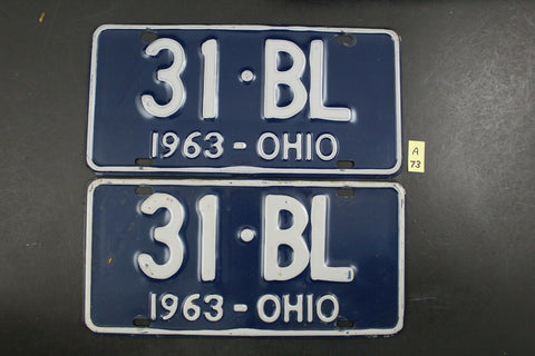 Vintage 1963 OHIO License Plate 31-BL PAIR (A73