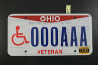 2013 OHIO Pride SAMPLE License Plate AAA-0000 2021 Sticker Disabled Veteran A39
