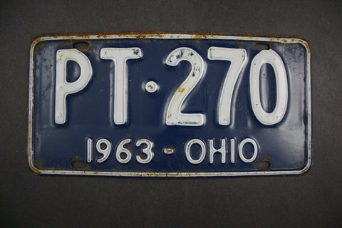 1963 Original Vintage Ohio License Plate PT-270