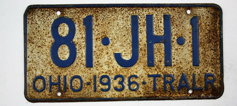 Vintage 1936 Original OHIO Trailer License Plate 81-JH-1