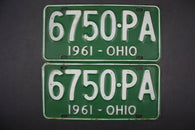 1961 Vintage Original OHIO License Plate 6750-PA PAIR