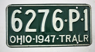 Vintage 1947 Original OHIO Trailer License Plate 6276-P-1