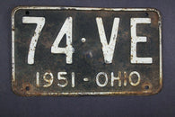 1951 Vintage Original Ohio License Plate  74-VE
