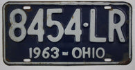 1963 Vintage Original OHIO License Plate Tag 8454-LR