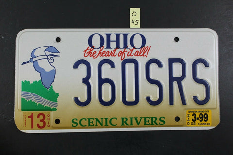 1996 OHIO License Plate 360SRS Scenic Rivers 1999 Sticker (O-45