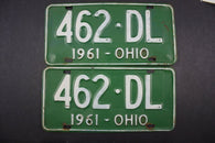 1961 Vintage Original Ohio License Plate 462-DL PAIR