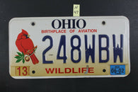 1998 OHIO License Plate 248-WBW Wildlife Embossed 2002 Sticker (N-47