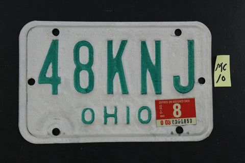 Vintage 1985 OHIO MOTORCYCLE License Plate 48KNJ 1990 Sticker (MC10