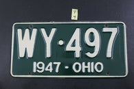 Vintage 1947 OHIO Restored License Plate WY-497  (Y4)