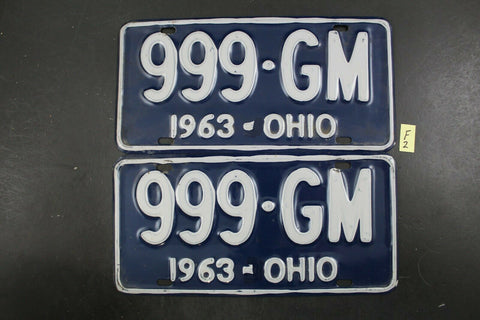 Vintage 1963 OHIO License Plate 999-GM PAIR (F2