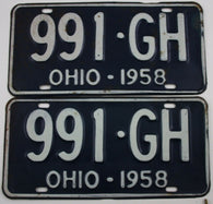 1958 Vintage Original Pair of Ohio License Plates 991-GH PAIR