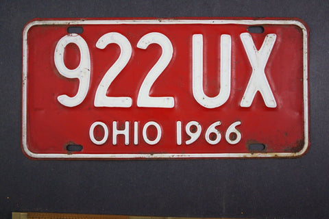 1966 Vintage Original Ohio License Plate 922-UX