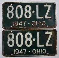 1947 Vintage Original OHIO License Plate Tag 808-LZ - PAIR