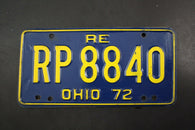1972 Vintage Original OHIO License Plate RP-8840 REISSUED