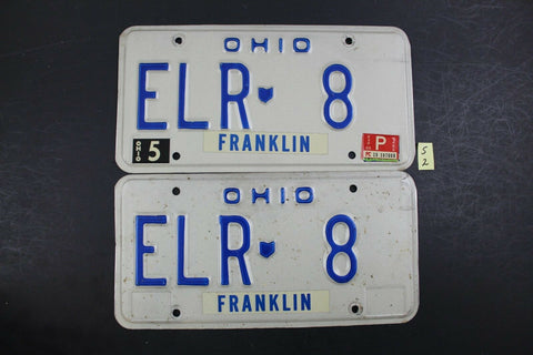 1984 Original Vintage Ohio License Plate ELR 8 PAIR FRANKLIN COUNTY S2