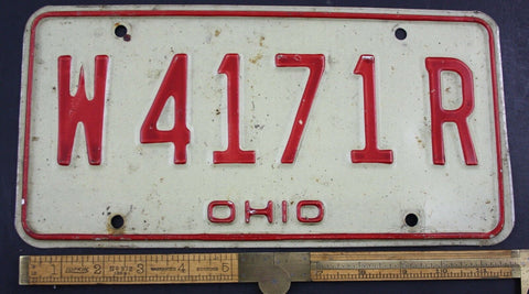 1980 Vintage Original OHIO License Plate  W-4171-R  PAIR