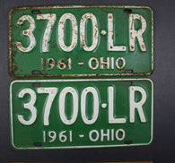 1961 Vintage Original Ohio License Plate 3700-LR PAIR