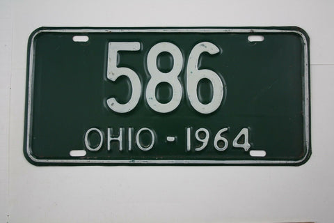 Vintage 1964 Original OHIO 3 Digit License Plate 586