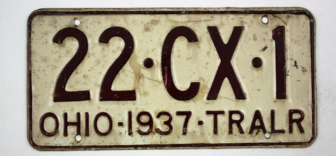 Vintage 1937 Original OHIO Trailer License Plate 22-CX-1