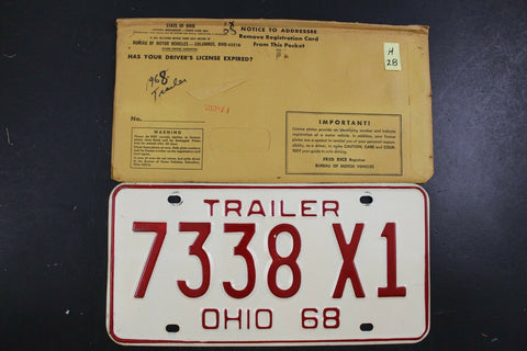 Vintage 1968 OHIO License Plate 7338-X1 TRAILER (H28