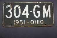 1951 Vintage Original Ohio License Plate  304-GM