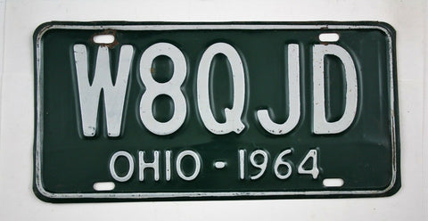 Vintage 1964 Original OHIO Amateur Radio License Plate W8QJD