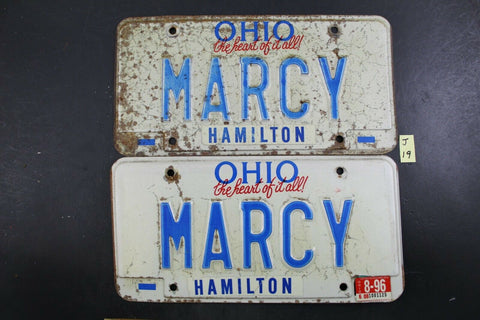 Vintage 1991 OHIO License Plate MARCY PAIR 1996 Sticker J19