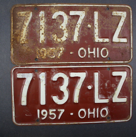 1957 Vintage Original Ohio License Plate 7137-LZ PAIR