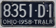 1958 Vintage Original OHIO License Plate 8351-D-1 TRAILER