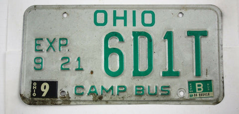 Vintage 1985 Base Original OHIO Camp Bus License Plate 6D1T