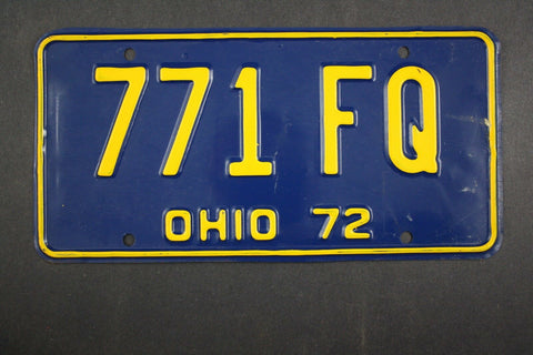 1972 Vintage Original Ohio License Plate 771-FQ