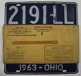 1963 Vintage Original OHIO License Plate 2191-LL PAIR