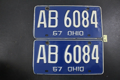Vintage 1967 OHIO License Plate AB-6084 PAIR New York Steel Die (F32