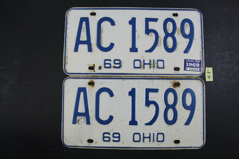 Vintage 1969 OHIO License Plate AC-1589 PAIR 1969 Local Tax Sticker L4
