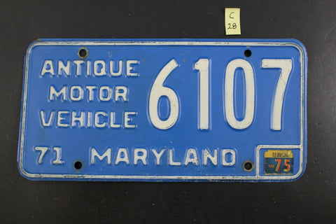 Vintage 1971 MARYLAND Antique Motor License Plate 6107 w 1975 Sticker C28