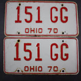 1970 Vintage Original Ohio License Plate 151-GG PAIR