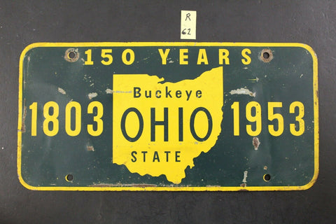 Vintage 1953 OHIO Sesqui-Centennial Booster License Plate Buckeye State (R62