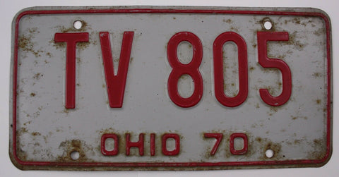 1970 Vintage Original OHIO License Plate TV-805