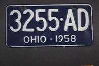 1958 Vintage Original Ohio License Plate 3255-AD