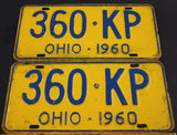 1960  Vintage  Original OHIO License Plate 360-KP  PAIR