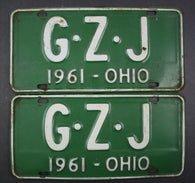 1961 Vintage Original Ohio License Plate G-Z-J PAIR