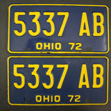 1972 Vintage Original Ohio License Plate 5337-AB PAIR