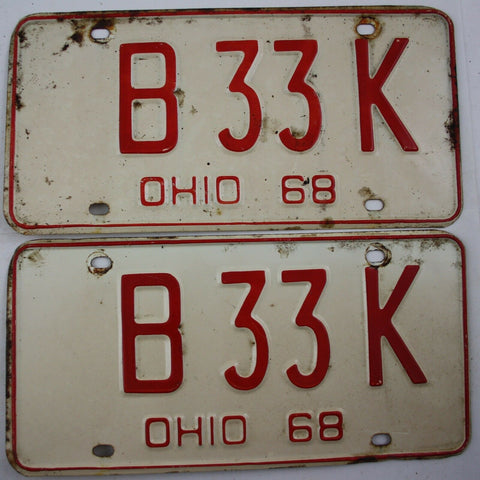 1968 Vintage Original OHIO License Plate Tag B-33-K PAIR ERROR