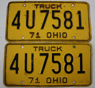 1971 Vintage Original OHIO License Plate 4-U-7581  PAIR