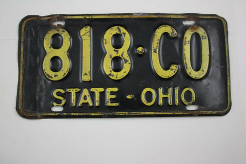 Vintage 1960 Original OHIO State Truck License Plate 818-CO