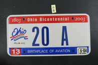 2001 OHIO License Plate 20-A 2004 Sticker (O-8