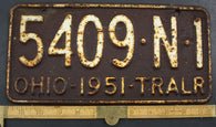 1951 Vintage Original OHIO License Plate 5409-N-1 TRAILER
