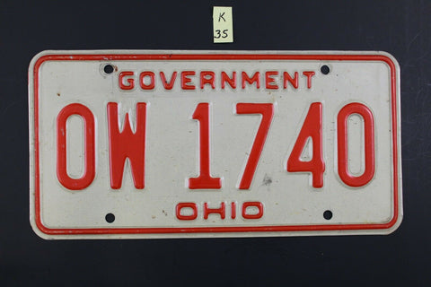 Vintage OHIO GOVERNMENT License Plate OW-1740 K35