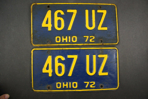 1972 Vintage Original Ohio License Plate 467-UZ PAIR